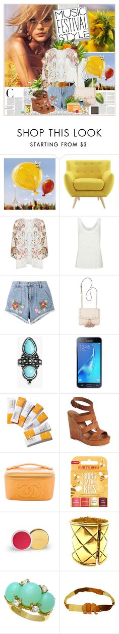 """""""MUSIC FESTIVAL STYLE: POLYVORE CONTEST"""" by k-hearts-a ❤ liked on Polyvore featuring Yosemite Home Décor, Modway, Mat, Sandro, House of Holland, Steve Madden, Samsung, Clinique, Lucky Brand and Chanel"""