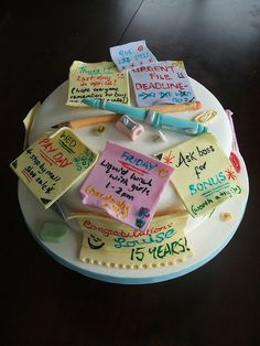 Post-it Notes retirement cake...SO cute!