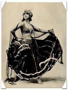 "Ruth St. Denis. Not a bellydancer, not a ""gypsy"". An American modern dance pioneer inspired by Eastern images. With her partner Ted Shawn they founded the Denishawn company."