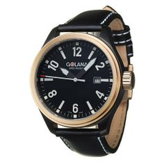 Golana Swiss Men's TE120-1 Terra Stainless Steel Leather Fashion Watch Golana Swiss. $171.00. Water-resistant to 330 feet (100M). Polished and brushed stainless steel bicolor black and rose gold tone case, fixed bezel. Battery powered quartz movement Swiss made. Arabic numerals and stick index hour markers, luminescent hands. Three hand, date