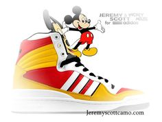 purchase cheap 17c5b 63eb7 Jeremy Scott Adidas Womens Mickey Mouse only  60 Mickey Mouse, Unique Shoes,  Cute Shoes