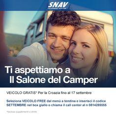 Dove ti porta il cuore? Noi ci faremo portare a #Parma  al #SalonedelCamper, tu fatti trasportare da #snav in #Croazia:  #camper, #roulotte, #auto e #moto viaggiano #gratis fino al 17 settembre! Chiamaci allo 081/4285555