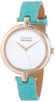 cae34ee08a9c Citizen Women s EM0253-20A  Silhouette  Rose Gold-Tone Watch with Blue  Leather