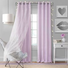The Elrene Aurora Kids Room Grommet Darkening Layered Sheer Window Curtain Panel is a cute addition to any room. A two layered curtain, the bottom is a room darkening panel in a soft color palette while the top layer is a sparkly white sheer. Kids Blackout Curtains, Kids Room Curtains, Drapes Curtains, Kids Bedroom, Kids Rooms, Bedroom Window Curtains, Bedroom Ideas, Layered Curtains, Bedroom Decor