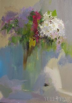 White lilacs flower painting abstract still life painting by Pysar