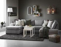 Nevada 3-sits soffa med divan och schäslong i tyg Rocco grey från Mio. http://www.living-room-ideas.org