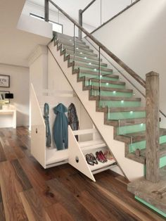 Glass Staircase With Raw Wood Newel Posts And Under Stairs Drawers Under Deck Stairs Storage Plans Build Your Own Under Stair Storage Under Stairs Diy Storage Solutions Under Stairs Drawers, Stair Drawers, Space Under Stairs, Diy Drawers, Under The Stairs, Under Stairs Cupboard, Toilet Under Stairs, Office Under Stairs, Closet Under Stairs