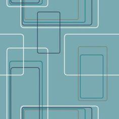 5 Retro Wallpapers That Take Your Home Back In Time: Aqua Modern Geometric Retro Wallpaper