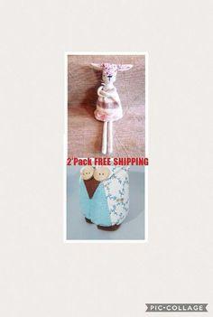 2 Pack Toy Set Lamb Sheep & Owl / Fabric Animal / Stuffed Animal / Soft Toy / Stuffed Toy / Soft Animal / Soft Owl / Fabric Toy
