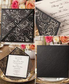 delicate white and black laser cut wedding invitations