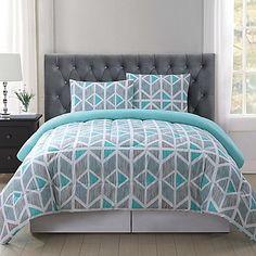 image of Truly Soft Malene Quilt Mini Set in Grey/Aqua Bedroom Comforter Sets, Teal Bedroom, Comforter Sets, Bed Linens Luxury, Bedding Master Bedroom, Bed, Comfortable Bedroom, Bedding Sets, Girl Bedroom Decor