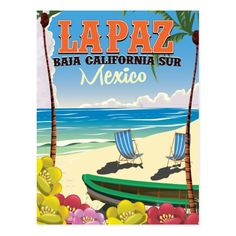 La Paz Baja California Sur Mexico travel poster Postcard