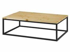 Table basse rectangulaire pin massif et métal CITY 120cm