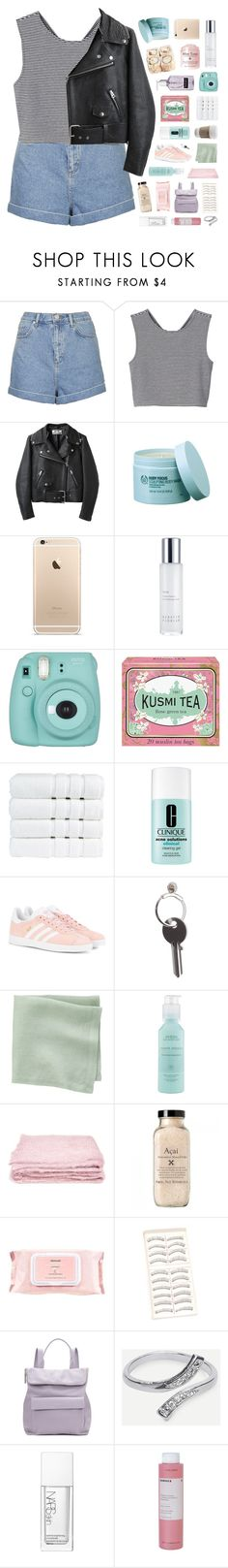 """""""put your kisses on my lips"""" by city-pool ❤ liked on Polyvore featuring Topshop, Monki, Acne Studios, The Body Shop, Kerstin Florian, Fujifilm, Kusmi Tea, Christy, Clinique and adidas Originals"""