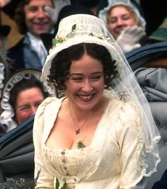 Bonnet with veil - Jennifer Ehle as Elizabeth Bennet in Pride and Prejudice (TV Mini-Series, 1995).