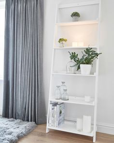 This sturdy, solid Wooden Shelf Ladder has five shelves of varying depths and can be screwed into the wall for extra strength. This sturdy, solid Wooden Shelf Ladder has five shelves of varying depths and can be screwed into the wall for extra strength. House Interior, Apartment Decor, Wooden Ladder Shelf, Home, Interior, Shelves, Bedroom Furniture Placement, Home Decor, Furniture Decor