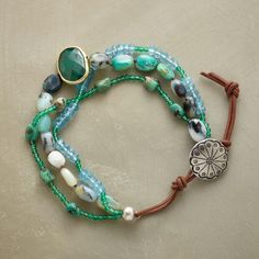 MEADOWLARK BRACELET--Three strands of aventurine, quartz, opal and turquoise showcase a faceted emerald. Sterling silver button and leather loop closure. Exclusive