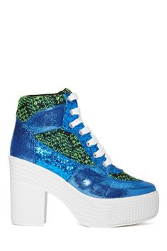 JC Play by Jeffrey Campbell As If Platform Boot - Blue/Green