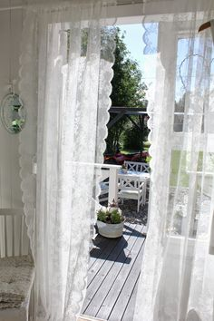 Little White Shabby Chic Cottage White Cottage, Shabby Chic Cottage, Lace Curtains, Romantic Homes, Linens And Lace, White Gardens, White Houses, Windows And Doors, Home Fashion