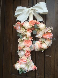 Floral hydrangea and multi-flower Monogram Letter Initial Wedding Door  Floral Wreath by SpottedLeopard on Etsy https://www.etsy.com/listing/266651806/floral-hydrangea-and-multi-flower