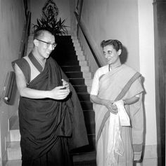 Dalai Lama meets Indira Gandhi during his visit at Nehru's resident in New Delhi on September 4, 1959.