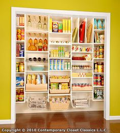 Open Pantry Closet. I know most of us have had a closet we don't use for much, or just to hide a load of stuff we rarely use. Try the container store's Elfa system or lots of shelving and make it a pantry!
