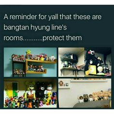 Jin is Mario, Yoongi is kumamon, Hobi is just random lil action figures and Rapmon is Ryan. Why am I not even the least bit surprised.