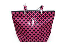 You will love the preppy print of this navy and pink monogram boat tote that is embroidered with your 3 initial monogram on this boat tote.