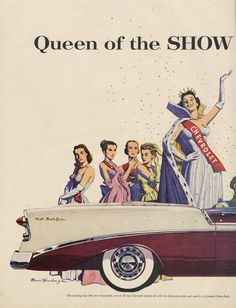 1956 Chevrolet Bel Air Car Ad Beauty Pageant Queen Chevy Automobile Illustration Vintage Advertising Art Print Retro Wall Decor