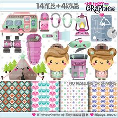 Camping Clipart, Camping Graphic, COMMERCIAL USE, Kawaii Clipart, Planner Accessories, Camping Party, Camp Clipart, Scout, Outdoor Clipart