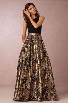 Black and Gold Metallic Bridesmaid Gown | HWL Picks for a Metallic Fall Wedding