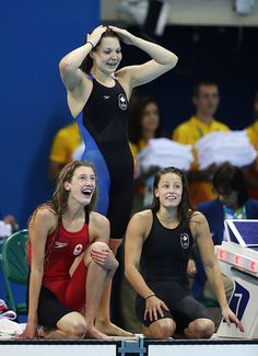 #RIO2016 Taylor Ruck Brittany McLean and Katerine Savard of Canada celebrate third place in the Women's 4 x 20m Freestyle Relay on Day 5 of the Rio 2016...