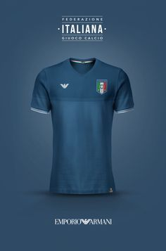 National Football kits reimagined with Local Brand sponsorship by Emilio Sansolini - Italy x Emporio Armani Soccer Kits, Football Kits, Sports Logo, Sports Shirts, Italy Football Shirt, Italy Soccer, Sports Jersey Design, Jersey Atletico Madrid, Men Styles