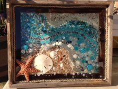 Rustic Seascape Sea Glass Crafts, Sea Crafts, Sea Glass Art, Glass Wall Art, Seashell Art, Seashell Crafts, Window Art, Window Panes, Window Glass