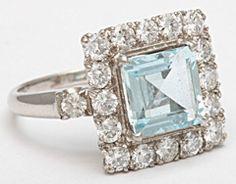 1STDIBS.COM Jewelry & Watches - Square Cut Aquamarine Diamond Platinum Ring - Elle W Collection