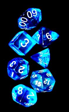 New 7 Piece Polyhedral Dice Set Translucent Blue RPG Game D D | eBay
