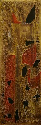 Matières et couleurs V, Techniques mixtes sur toile, 20 x 60 cm, vendu