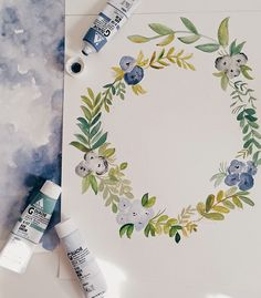 Studio Snaps : Works In Progress - Shannon Kirsten Wreath Watercolor, Watercolour Painting, Watercolor Flowers, Painting & Drawing, Watercolors, Happpy Birthday, Illustration Blume, Guache, Floral Illustrations