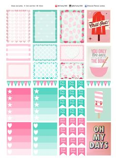 Pink and green planner sticker label sheet A4