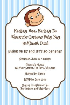 Curious George Theme Personalized Baby Shower by PartyCreations4u, $10.00
