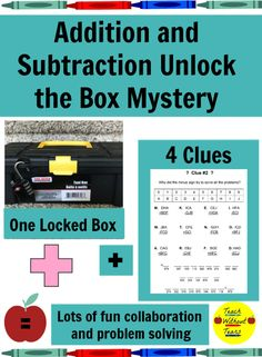 Addition and Subtraction Unlock the Box: A Fun Math Mystery Math Activities, Teacher Resources, Learning Resources, Math Lesson Plans, Math Lessons, Teaching Tips, Teaching Math, Elementary Math, Upper Elementary