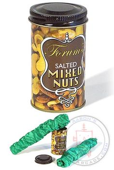 Would you like some Fancy Mixed Nuts? When you open the can long green fabric covered springy snakes jump out! Used to scare the crap out of me! LOL!