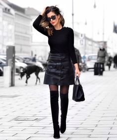 All Black Everything // Fashion Look by Short Stories & Skirts. - Total Street Style Looks And Fashion Outfit Ideas Black Leather Skirt Outfits, All Black Outfit, Asos Fashion, Fashion Outfits, Fashion Skirts, Womens Fashion, Skirts With Boots, Skirt Boots, Looks Black