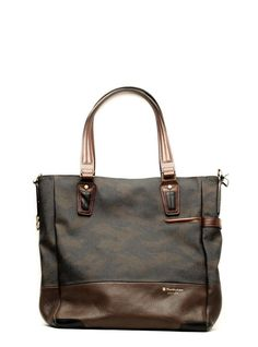 Masterpiece tote / shoulder bag glossy camo + brown cow leather