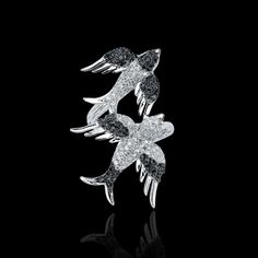 #Swallow #bypass #ring with #b&w #diamonds #bird #freedom #wings #love
