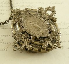 Vintage Locket Cross Victorian Necklace by chloesvintagejewelry, $44.00