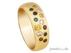 Diamantschmuck passend zu Ostern. Modischer Diamantring in Gelb-Gold mit 13 funkelnden, farbigen Diamanten im Brillantschliff. Das Besondere an den Brillanten ist ihre Farbvielfalt. Ein schönes Geschenk zu Ostern. Entdecken Sie weitere brillante Geschenkideen in unserem Online Schmuck Shop www.jewels24.de und machen Sie Ihrer Liebsten zu Ostern ein ganz besonderes Geschenk. Diamantschmuck - direkt vom Hersteller aus Idar-Obersterin. #ostern #diamantschmuck #geschenk #diamantring Schmuck Online Shop, Gemstone Rings, Gemstones, Partner, Accessories, Jewelry, Gold, Necklaces, Jewelry Shop