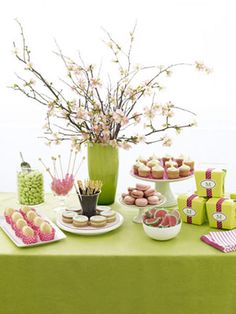 Spring Party Ideas - How to Plan a Spring Party.  Like the flower centerpiece