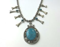 Vintage 1960s 1970s Squash Blossom Necklace Silver by LavenderSand, $36.00
