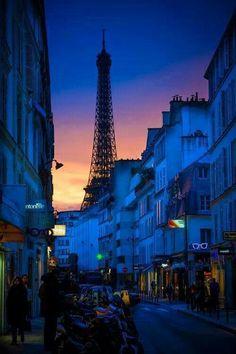 Dusk in Paris France